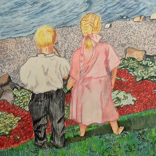 """Children by the Water (10"""" x 12"""") Giclee Reproduction"""