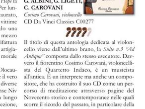 """Recensione su ARCHI magazine del cd """"Ad Antiqua, music for cello solo"""""""