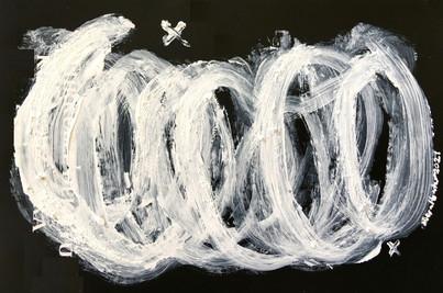 """Meral BATUR ÇAY, """"Vahşi Ruhun Nefes Akışı"""", Tuval Üzerine Karışık Teknik, 14 x 10 cm, 2021."""