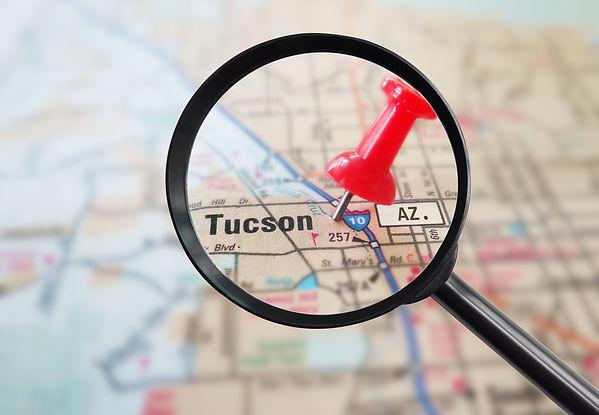 Magnified closeup of Tucson Arizona map
