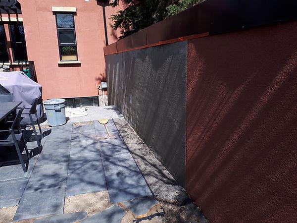 Dividing wall acrylic stucco repair scratch coat