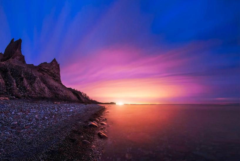 chimney bluffs sunset, pink sky, blue clouds, lake ontario sunset