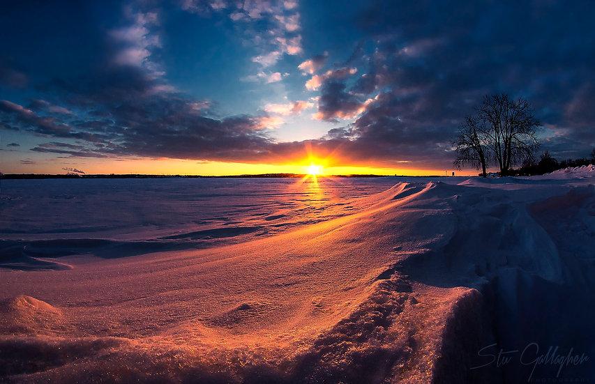 Winter Sunset on Onondaga Lake