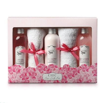 7296179020113 שיק ספא מארז מתנה לאישה בניחוח אליאן  קרם גוף סבון פילינג סבון מגבות פנים תכשירי טיפוח לאישה