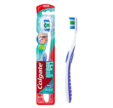 Colgate קולגייט מברשת שיניים 360 לצחצוח השיניים וניקוי החך והלשון 8714789183800