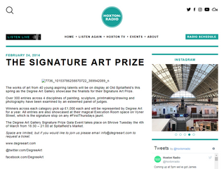 Featured on 'The Hoxton Radio' - The Signature Art Prize