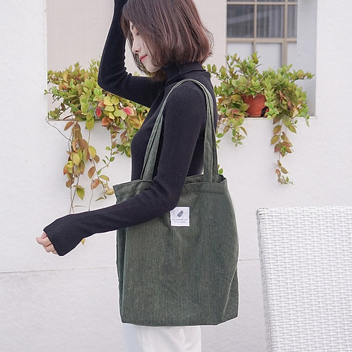 Women Corduroy Canvas Tote  Casual Shopping Bag Reusable Folding Bags