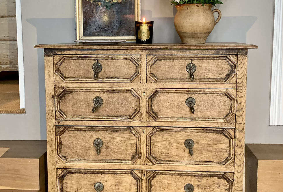 English Oak Chest Of Drawers.