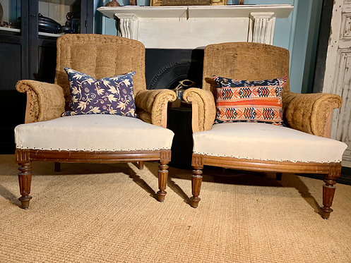 Square Back Burlap Lounge Chairs
