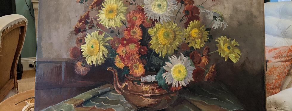 Sunflowers in Copper Kettle