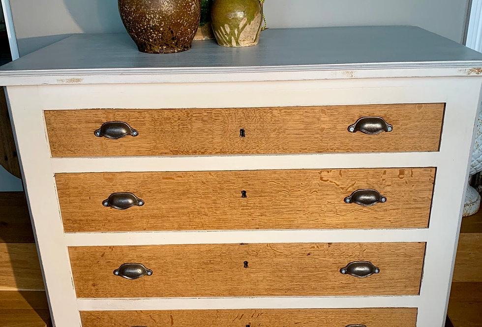 4 Drawer chest of drawers. Painted white cabinet with natural drawer fronts