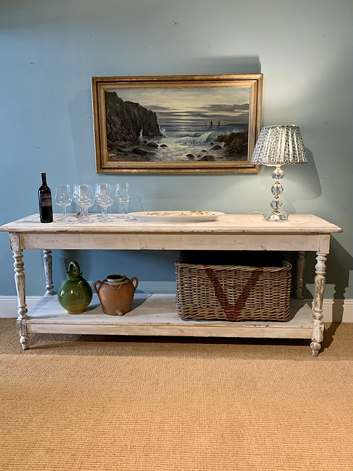 Antique Whitewashed Drapers Table