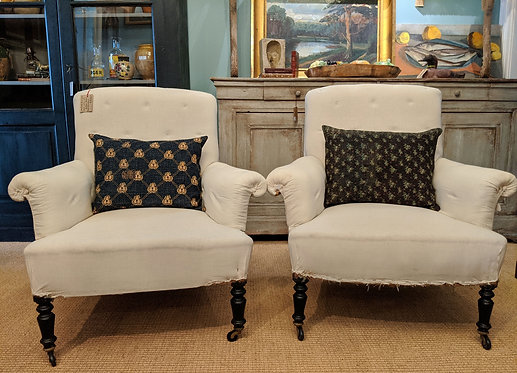 Pair of Soft Button Napoleon Chairs