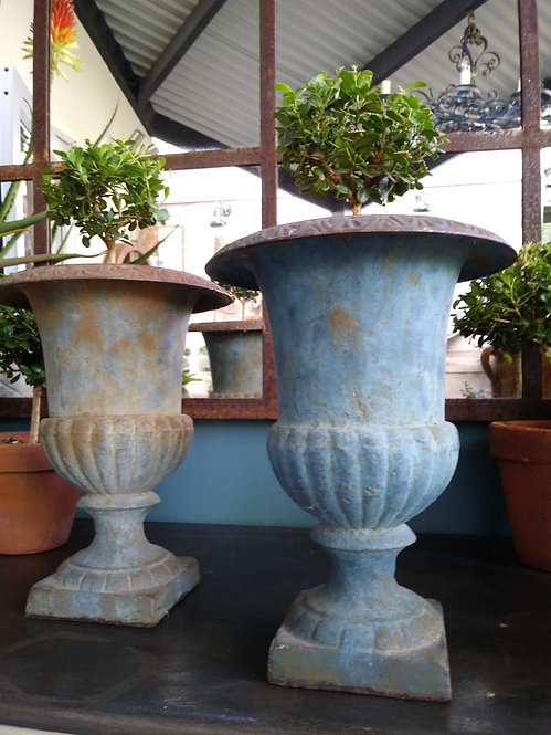 Cast Iron Urns With Blue Patina
