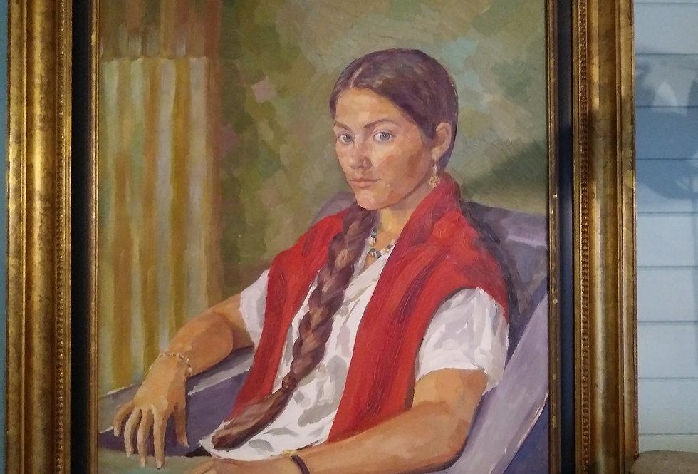 Girl With A Single Platt. Framed Oil On Canvas.
