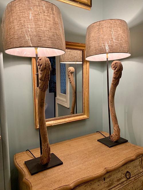 Oak Architectural Element Lamps