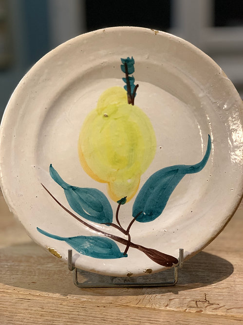 Antique Spanish Ceramic Plate with Pear Motif