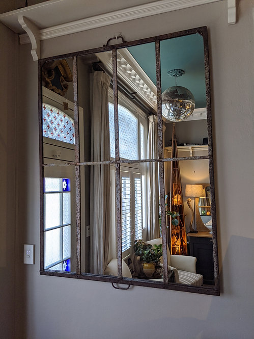 Glasshouse Mirror with White Patina
