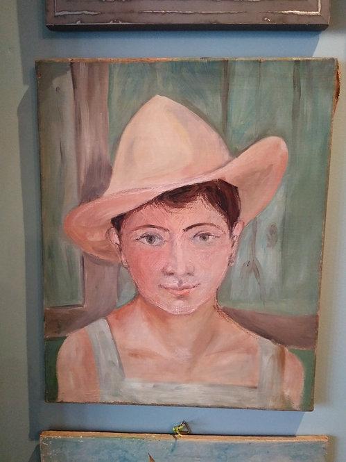 Provincial Farm Girl. Oil On Canvas.