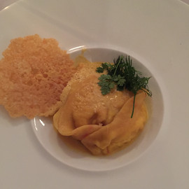 Lobster ravioli w/ Cheese wafer
