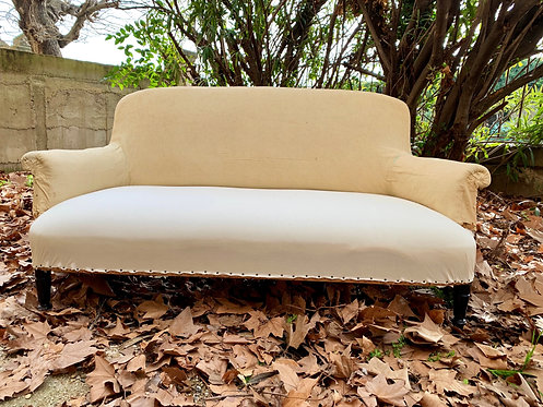 Napoleon Lounge, Antique & covered in calico. 2.5 seater