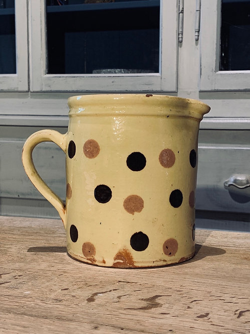 Early hand painted wine Pitcher