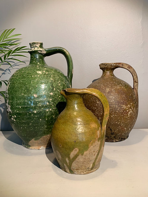 3 Olive Oil Pourers. Antique Glazed Terracotta