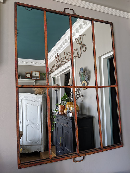 Glasshouse Mirror with Orange Patina