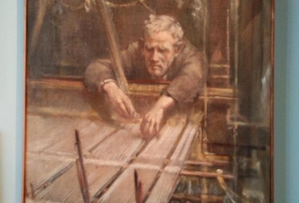 Man On The Loom. Framed Oil On Canvas