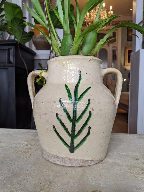 Cream Glaze Pot with Leaf Motif