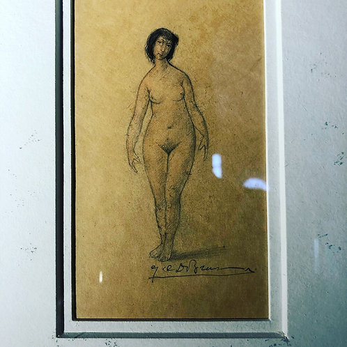 Framed female nude sketch. 1930