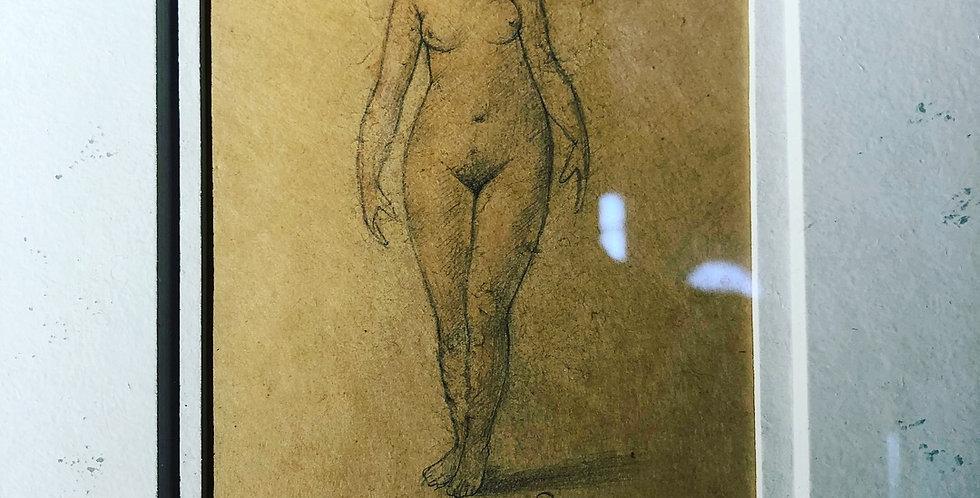 Framed female nude sketch. 1930