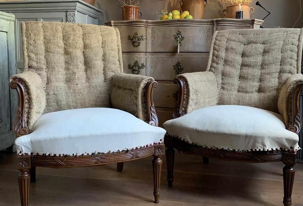 Oak Framed Scroll Back Napoleon Armchairs