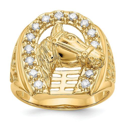 14k Mens Diamond Horseshoe Mtg With Horse In Center Ring