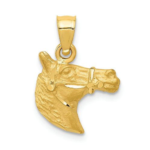 14K Diamond-Cut Horse Pendant