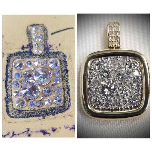 Custom Diamond Cushion Pendant
