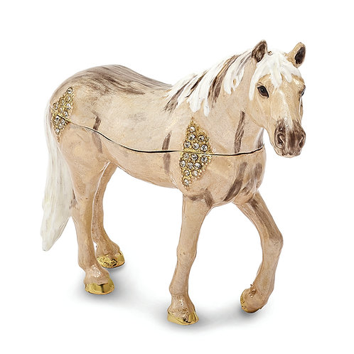 Bejeweled Wild Pony Champagne Trinket Box