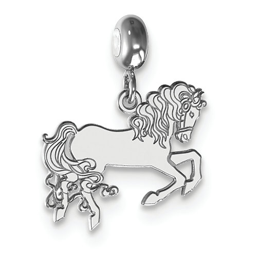 Sterling Silver Rhodium-Plated MeMi Horse Charm