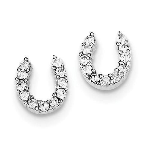 Sterling Silver CZ Horseshoe Post Earring