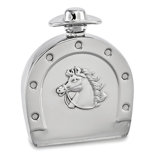 Stainless Steel 6oz Horseshoe Flask With Cowboy Hat