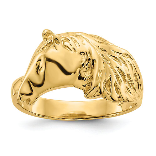14Kt Gold Polished Horse Head Ring