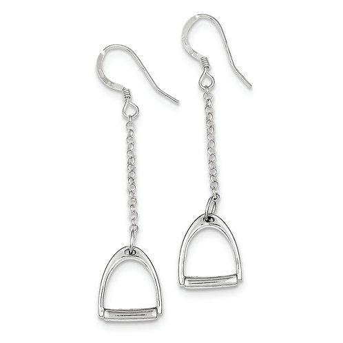 Sterling Silver Polished Horse Stirrup Dangle Earrings