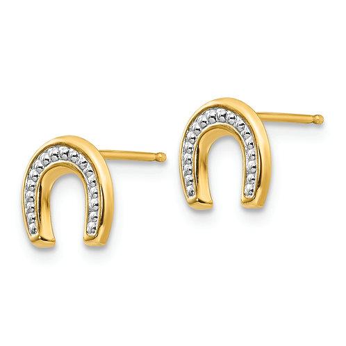 14k Madi K Polished And Rhodium Horseshoe Post Earrings