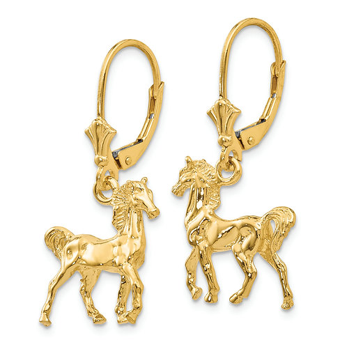 14K 3-D Horse Leverback Earrings
