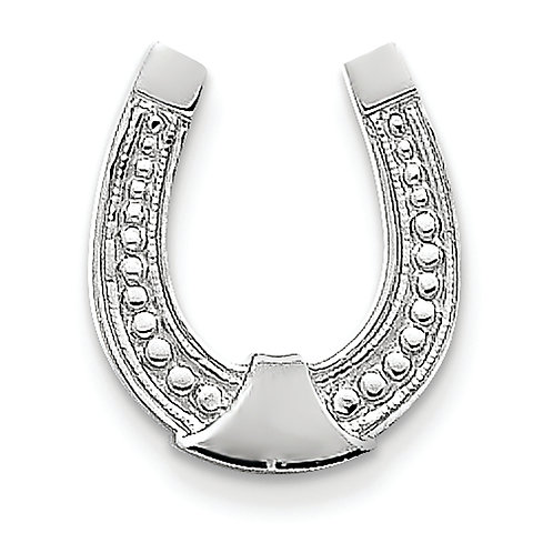 14k White Gold Horseshoe Pendant