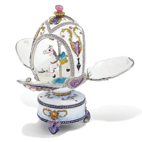Bejeweled Carousel Horse Musical Egg