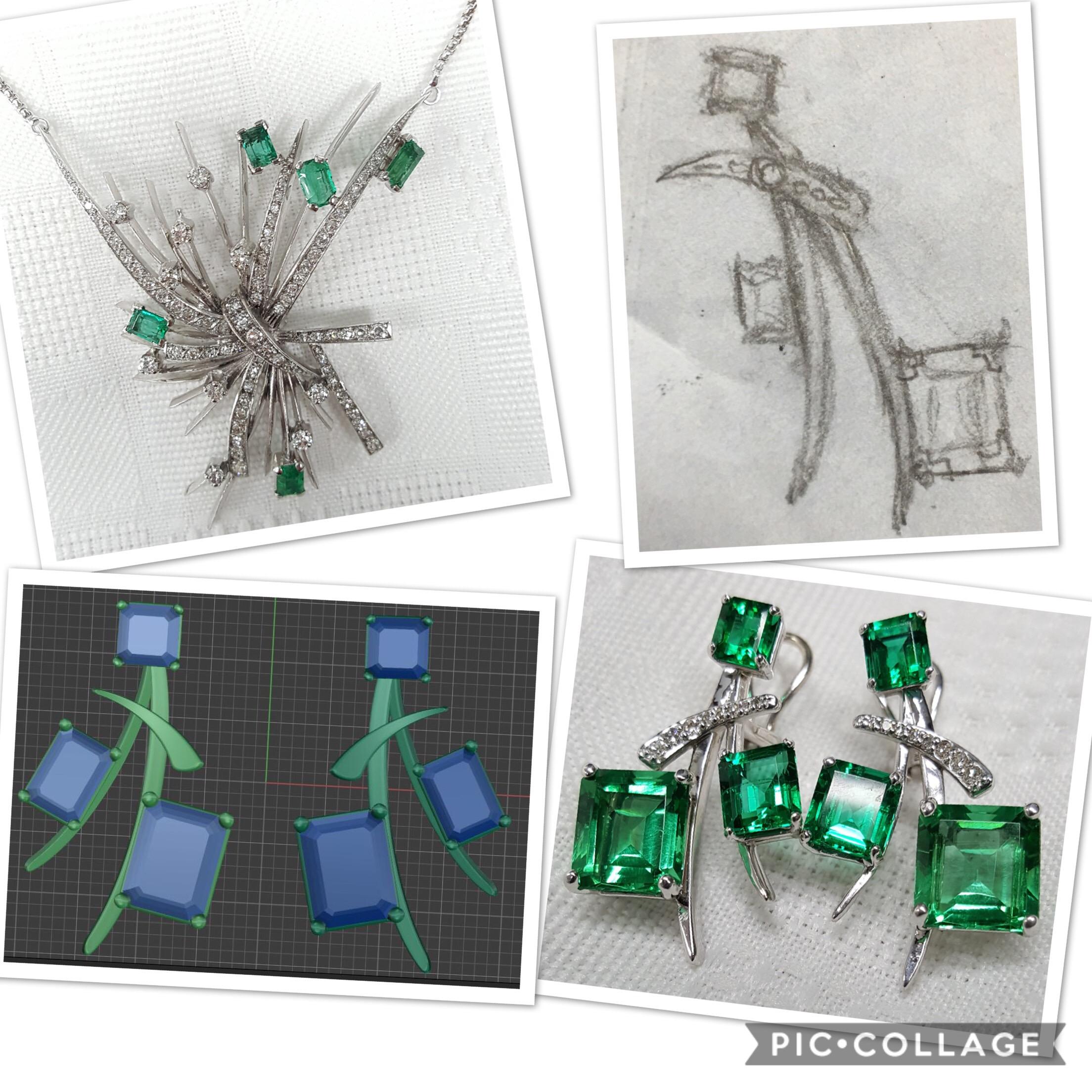 Custom Emerald & Diamond Set
