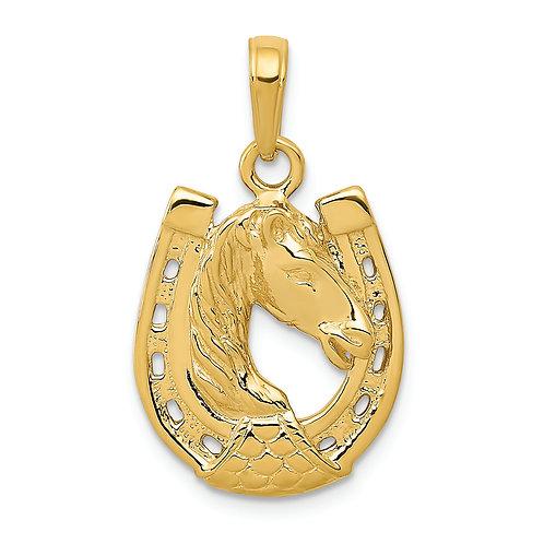 14k Solid Polished Horse Head In Horseshoe Pendant