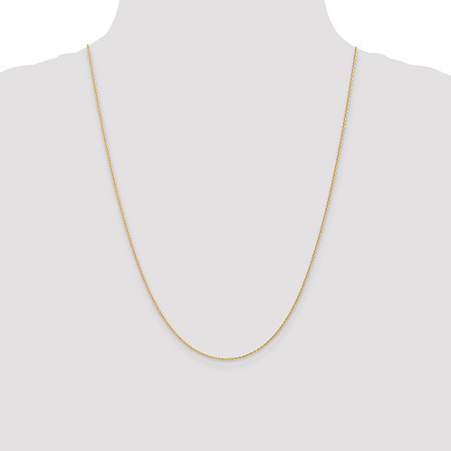 14k 1.1mm Baby Rope Chain- 24 Inches