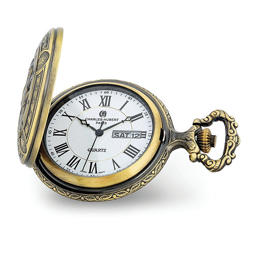 Charles Hubert 2-Tone Antique Finish 3 Horses Pocket Watch